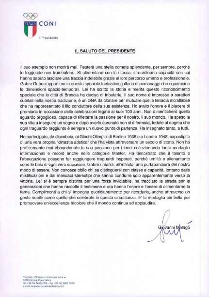 Coni Point di Brescia - Lettera del presidente  Malagò per la commemorazione della Signora Gabre Gabric